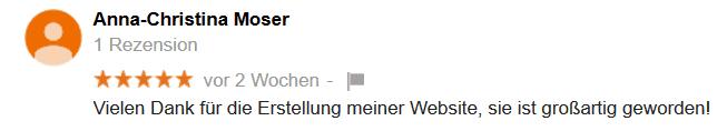 Bewertung der Leistung von Mag. Thomas Neumeister neumeith.at für die Erstellung Ihrer Website.